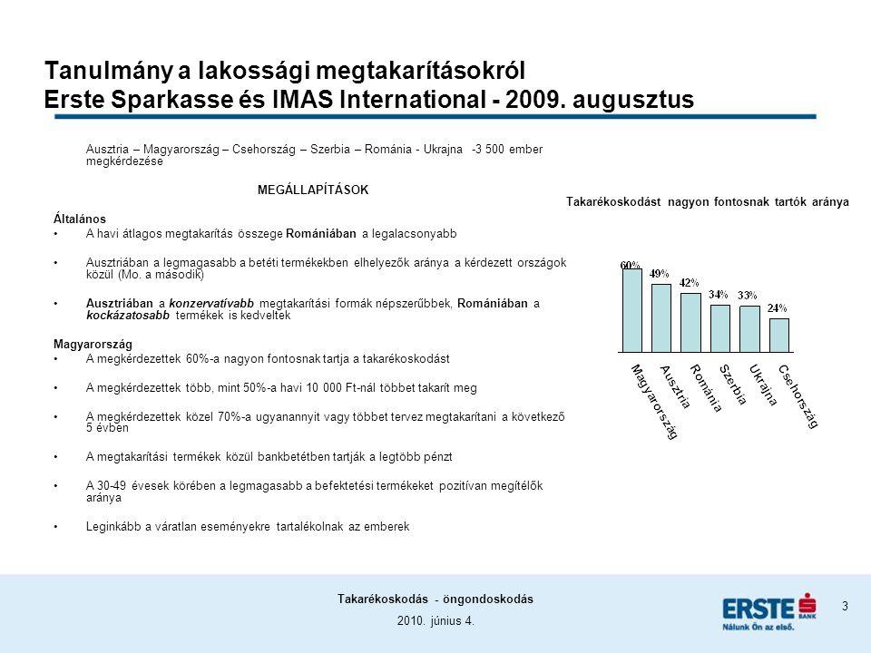 2010. június 4. Takarékoskodás - öngondoskodás 3 Tanulmány a lakossági megtakarításokról Erste Sparkasse és IMAS International - 2009. augusztus Auszt