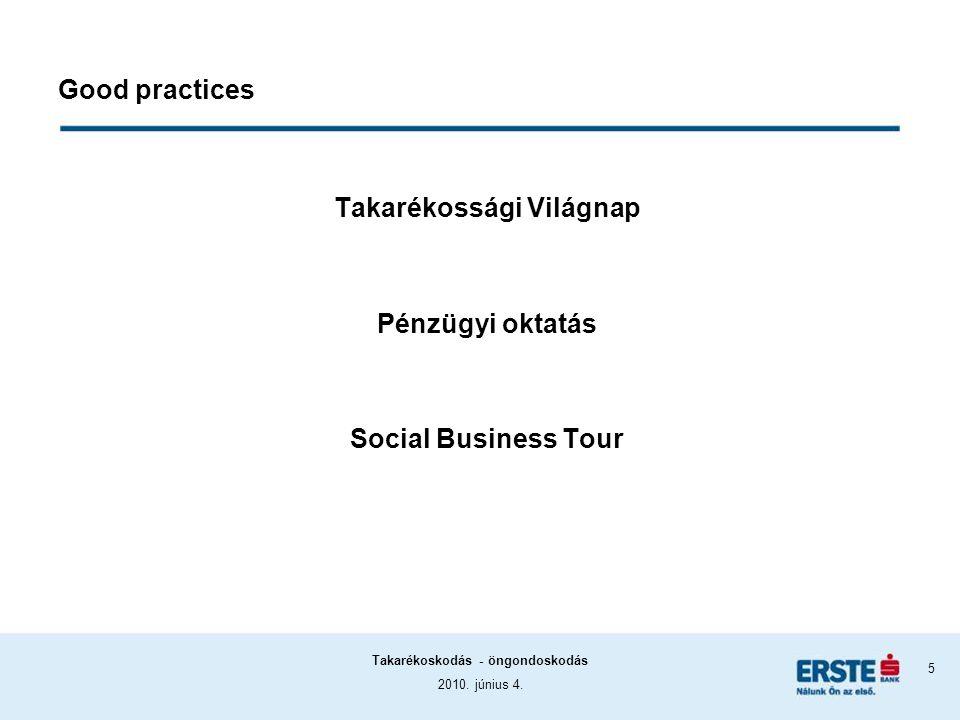 2010. június 4. Takarékoskodás - öngondoskodás 5 Good practices Takarékossági Világnap Pénzügyi oktatás Social Business Tour