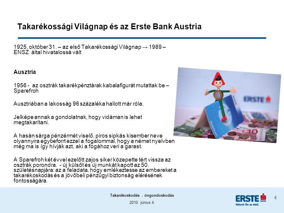 2010. június 4. Takarékoskodás - öngondoskodás 6 Takarékossági Világnap és az Erste Bank Austria 1925. október 31. – az első Takarékossági Világnap →