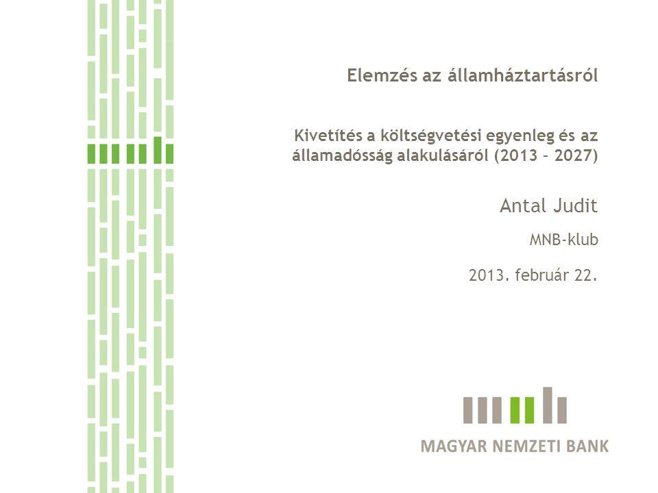 Elemzés az államháztartásról Kivetítés a költségvetési egyenleg és az államadósság alakulásáról (2013 – 2027) Antal Judit MNB-klub 2013. február 22.