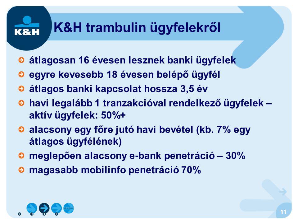11 átlagosan 16 évesen lesznek banki ügyfelek egyre kevesebb 18 évesen belépő ügyfél átlagos banki kapcsolat hossza 3,5 év havi legalább 1 tranzakcióv
