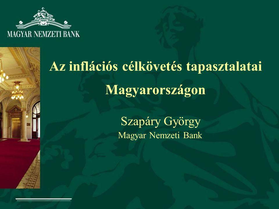Az inflációs célkövetés tapasztalatai Magyarországon Szapáry György Magyar Nemzeti Bank