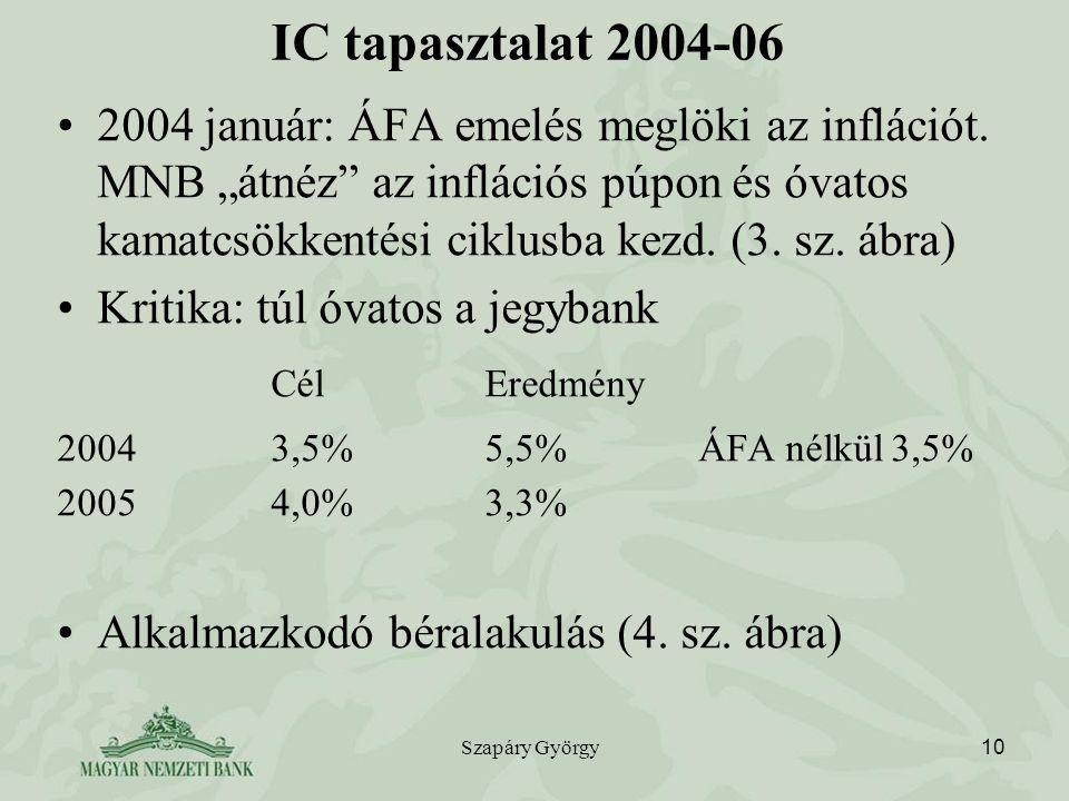 """Szapáry György 10 IC tapasztalat 2004-06 2004 január: ÁFA emelés meglöki az inflációt. MNB """"átnéz"""" az inflációs púpon és óvatos kamatcsökkentési ciklu"""
