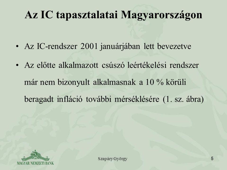 Szapáry György 5 Az IC tapasztalatai Magyarországon Az IC-rendszer 2001 januárjában lett bevezetve Az előtte alkalmazott csúszó leértékelési rendszer