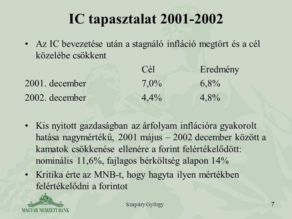 Szapáry György 7 IC tapasztalat 2001-2002 Az IC bevezetése után a stagnáló infláció megtört és a cél közelébe csökkent CélEredmény 2001. december7,0%6