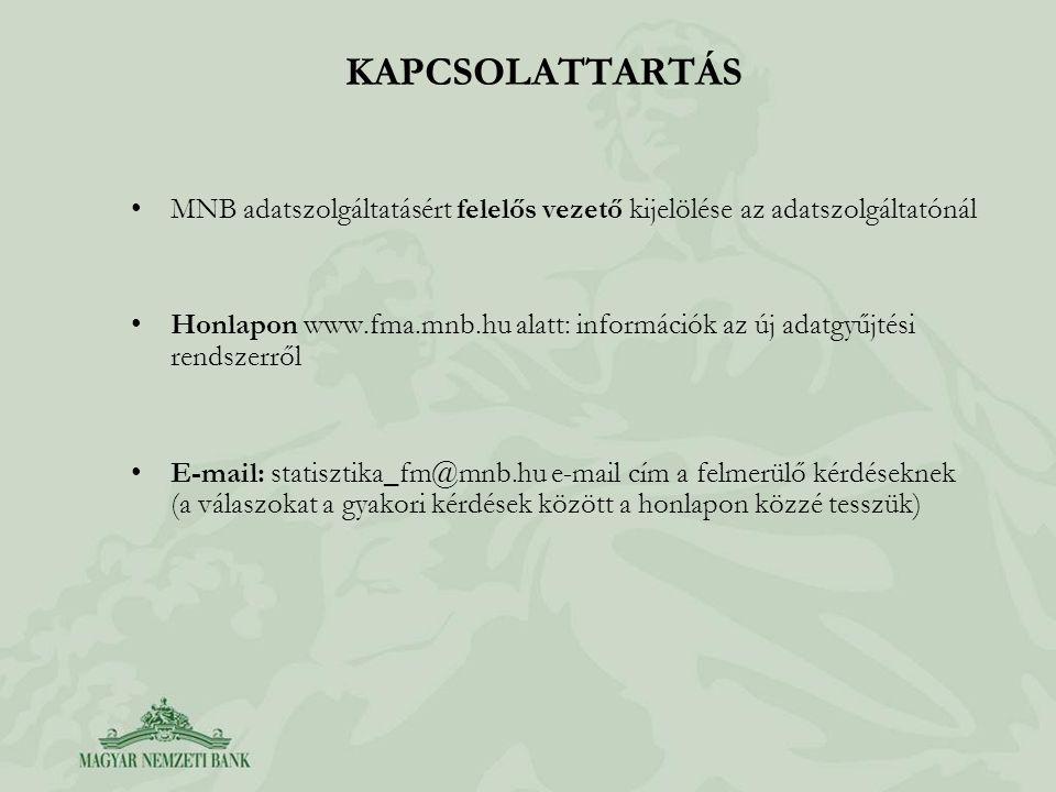 KAPCSOLATTARTÁS MNB adatszolgáltatásért felelős vezető kijelölése az adatszolgáltatónál Honlapon www.fma.mnb.hu alatt: információk az új adatgyűjtési