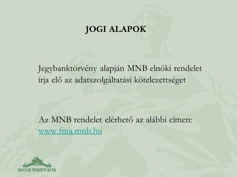 JOGI ALAPOK Jegybanktörvény alapján MNB elnöki rendelet írja elő az adatszolgáltatási kötelezettséget Az MNB rendelet elérhető az alábbi címen: www.fm