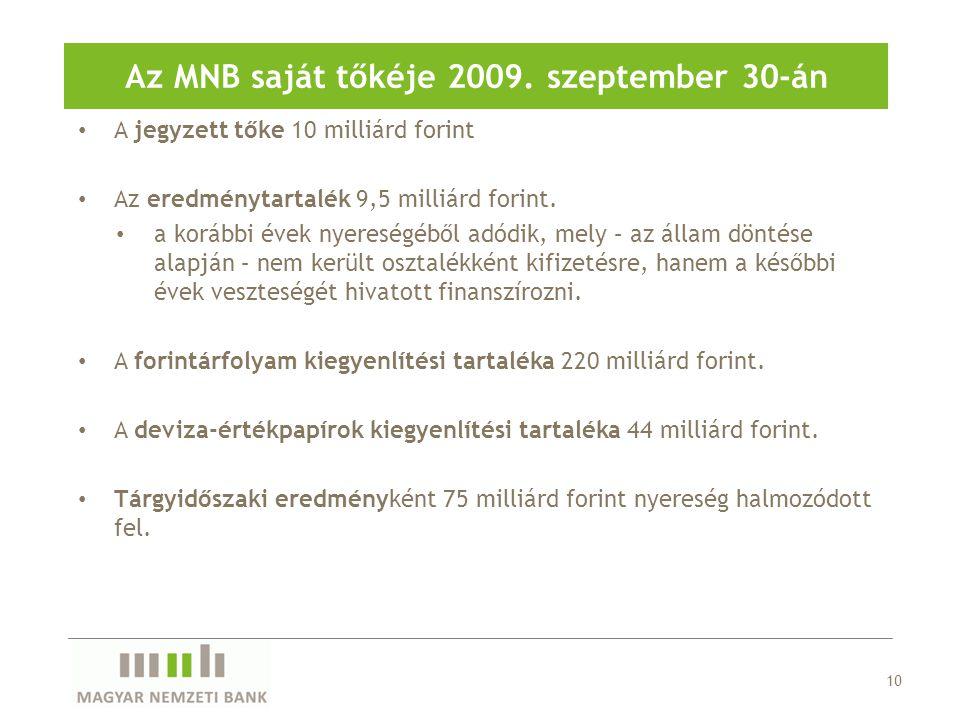 A jegyzett tőke 10 milliárd forint Az eredménytartalék 9,5 milliárd forint.