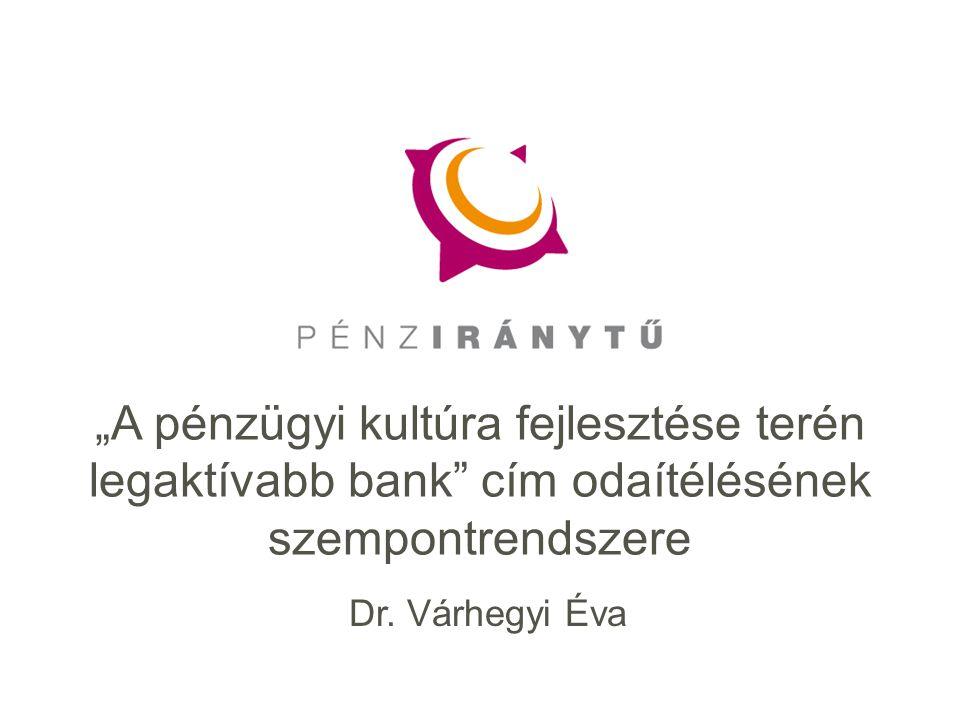 """Dr. Várhegyi Éva """"A pénzügyi kultúra fejlesztése terén legaktívabb bank"""" cím odaítélésének szempontrendszere"""