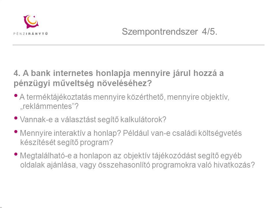 Mintacím szerkesztése 4. A bank internetes honlapja mennyire járul hozzá a pénzügyi műveltség növeléséhez? A terméktájékoztatás mennyire közérthető, m