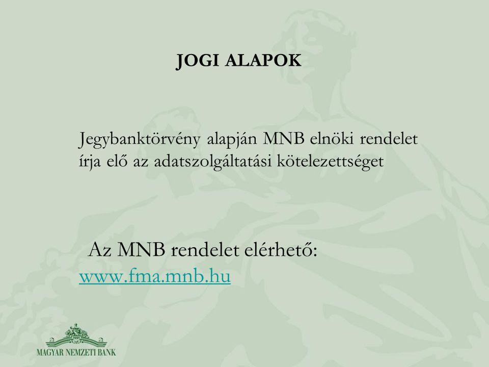 JOGI ALAPOK Jegybanktörvény alapján MNB elnöki rendelet írja elő az adatszolgáltatási kötelezettséget Az MNB rendelet elérhető: www.fma.mnb.hu www.fma