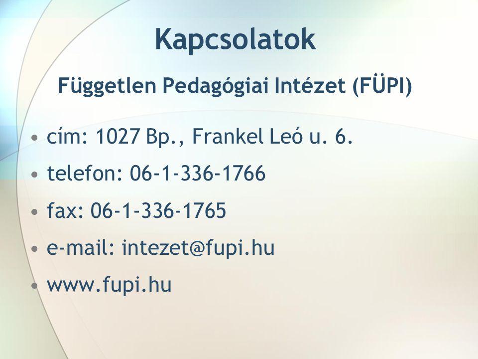 Kapcsolatok Független Pedagógiai Intézet (FÜPI) cím: 1027 Bp., Frankel Leó u. 6. telefon: 06-1-336-1766 fax: 06-1-336-1765 e-mail: intezet@fupi.hu www