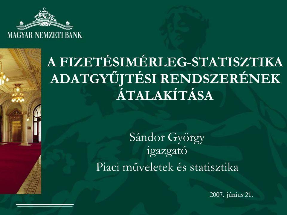 A FIZETÉSIMÉRLEG-STATISZTIKA ADATGYŰJTÉSI RENDSZERÉNEK ÁTALAKÍTÁSA Sándor György igazgató Piaci műveletek és statisztika 2007.