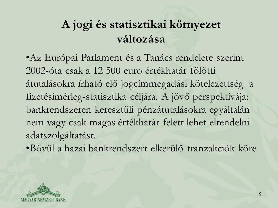 5 A jogi és statisztikai környezet változása Az Európai Parlament és a Tanács rendelete szerint 2002-óta csak a 12 500 euro értékhatár fölötti átutalásokra írható elő jogcímmegadási kötelezettség a fizetésimérleg-statisztika céljára.