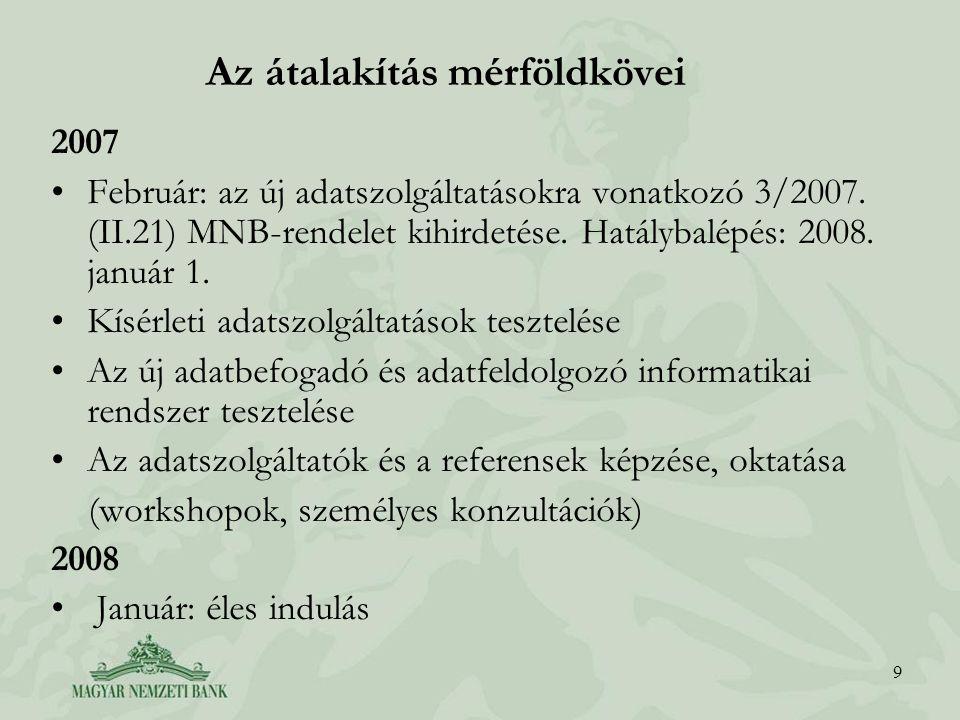 9 Az átalakítás mérföldkövei 2007 Február: az új adatszolgáltatásokra vonatkozó 3/2007.