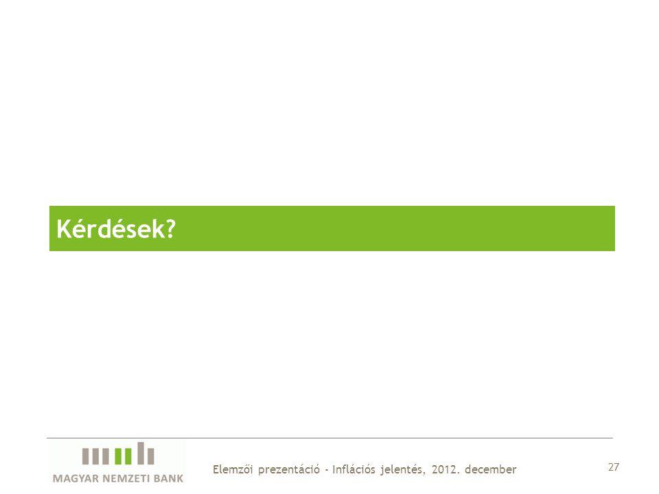 27 Elemzői prezentáció - Inflációs jelentés, 2012. december Kérdések