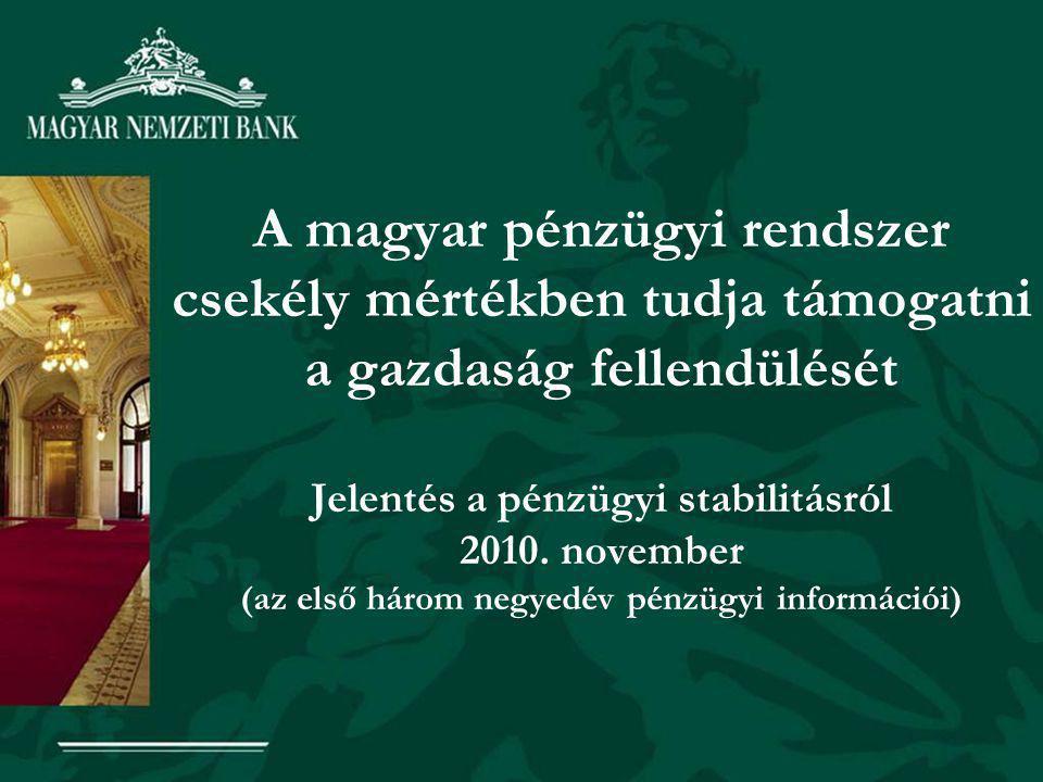 A magyar pénzügyi rendszer csekély mértékben tudja támogatni a gazdaság fellendülését Jelentés a pénzügyi stabilitásról 2010.