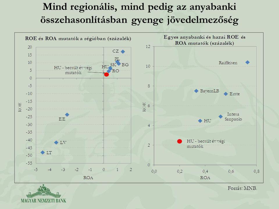 Mind regionális, mind pedig az anyabanki összehasonlításban gyenge jövedelmezőség Forrás: MNB.
