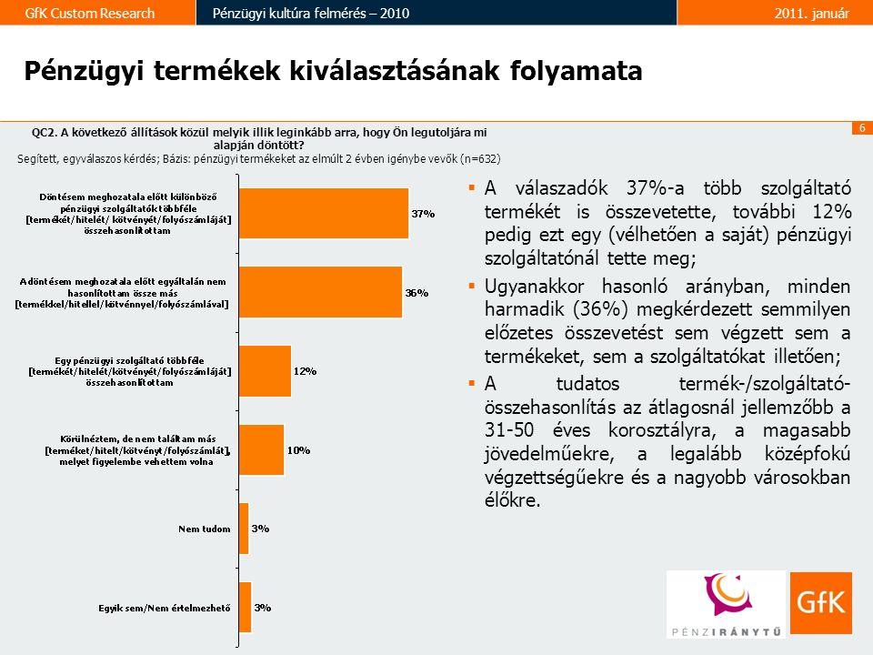 6 GfK Custom ResearchPénzügyi kultúra felmérés – 20102011. január Pénzügyi termékek kiválasztásának folyamata  A válaszadók 37%-a több szolgáltató te