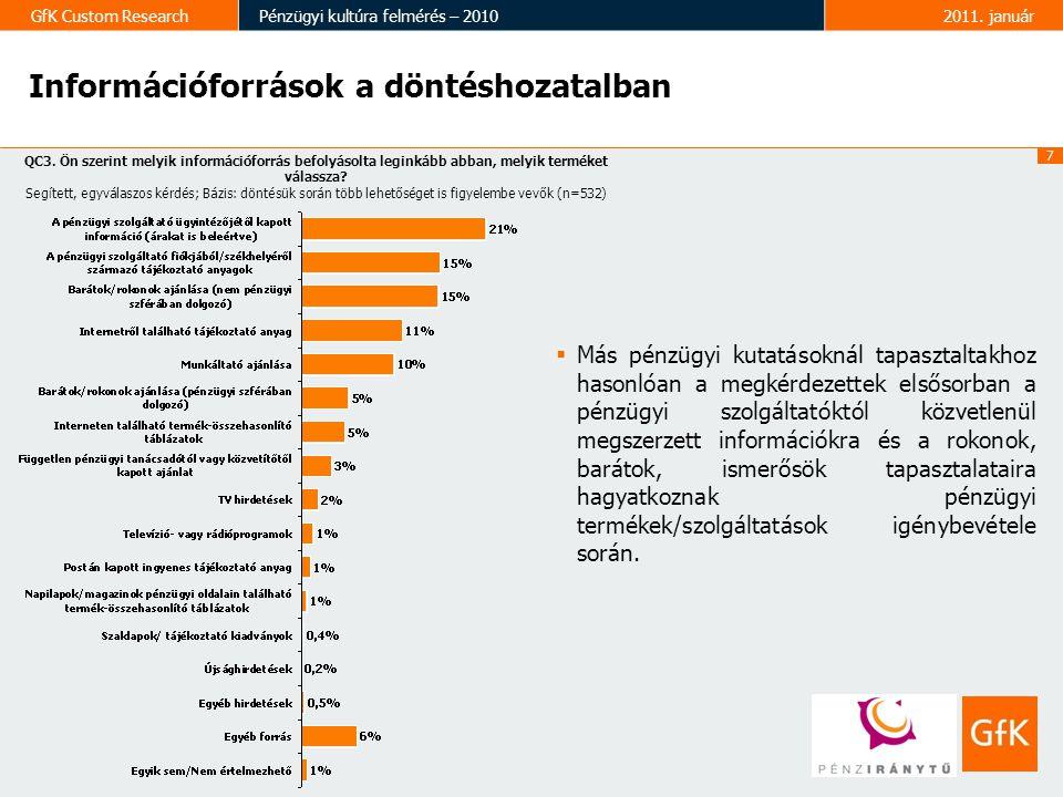 7 GfK Custom ResearchPénzügyi kultúra felmérés – 20102011. január Információforrások a döntéshozatalban  Más pénzügyi kutatásoknál tapasztaltakhoz ha