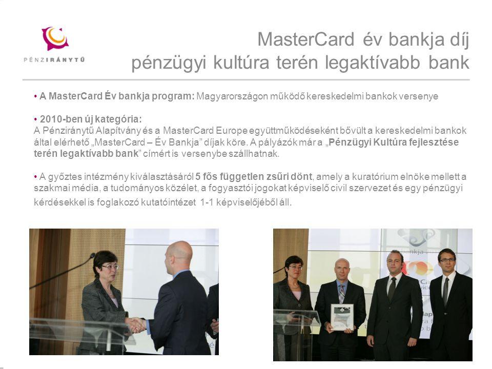 """Mintacím szerkesztése MasterCard év bankja díj pénzügyi kultúra terén legaktívabb bank A MasterCard Év bankja program: Magyarországon működő kereskedelmi bankok versenye 2010-ben új kategória: A Pénziránytű Alapítvány és a MasterCard Europe együttműködéseként bővült a kereskedelmi bankok által elérhető """"MasterCard – Év Bankja díjak köre."""