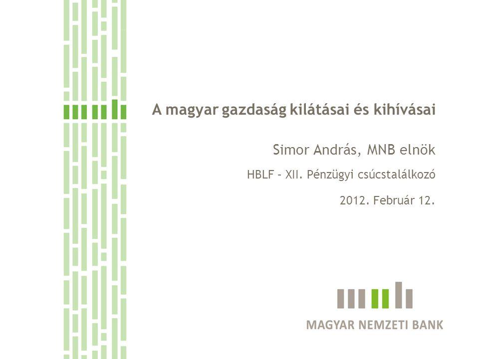A magyar gazdaság kilátásai és kihívásai Simor András, MNB elnök HBLF – XII. Pénzügyi csúcstalálkozó 2012. Február 12.