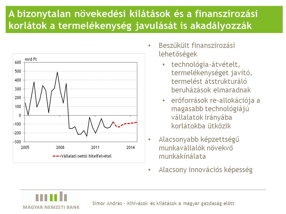 A bizonytalan növekedési kilátások és a finanszírozási korlátok a termelékenység javulását is akadályozzák Beszűkült finanszírozási lehetőségek techno
