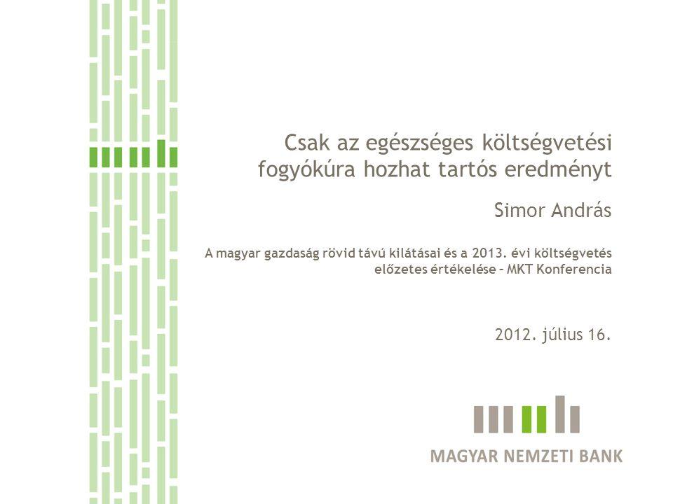 Csak az egészséges költségvetési fogyókúra hozhat tartós eredményt Simor András A magyar gazdaság rövid távú kilátásai és a 2013. évi költségvetés elő