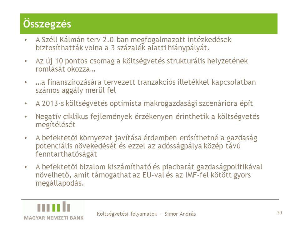 A Széll Kálmán terv 2.0-ban megfogalmazott intézkedések biztosíthatták volna a 3 százalék alatti hiánypályát. Az új 10 pontos csomag a költségvetés st
