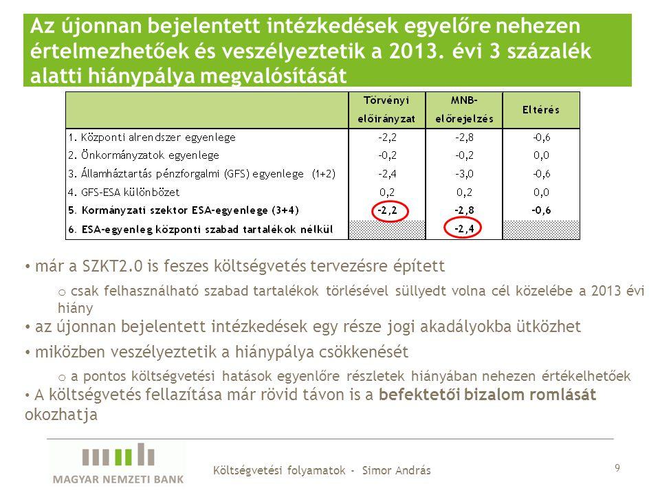 9 Az újonnan bejelentett intézkedések egyelőre nehezen értelmezhetőek és veszélyeztetik a 2013. évi 3 százalék alatti hiánypálya megvalósítását már a