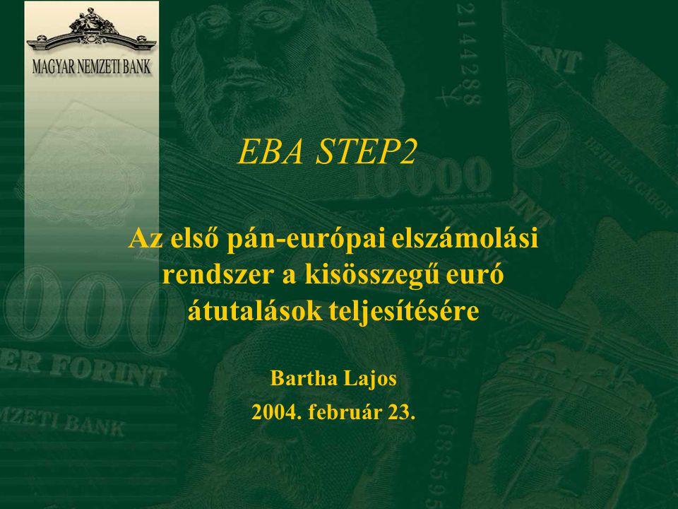 EBA euró fizetési rendszerek STEP1 EURO1 Két rendszer a tagállamok közötti, egyedi euró fizetési megbízások teljesítésére, ugyanazzal a (SWIFT által biztosított) technikai háttérrel 1999.