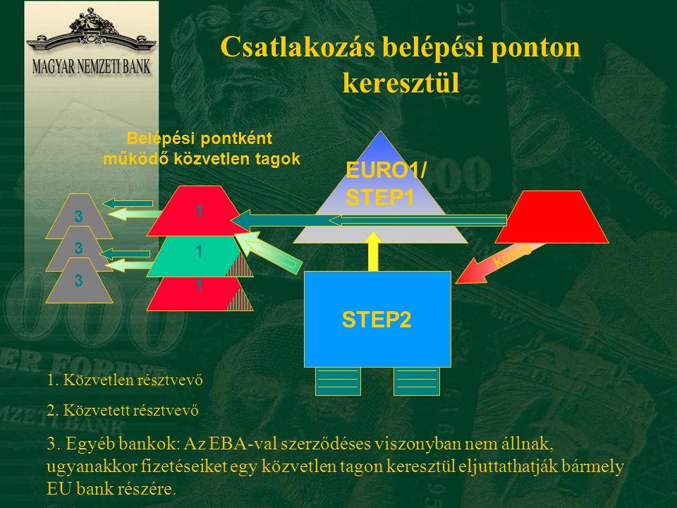 Csatlakozási lehetőség magyar bankok részére n Közvetlen résztvevőként n Levelezőbankon keresztül közvetetett résztvevőként n Belépési ponton (entry point) keresztül n MNB/GIRO-n keresztül