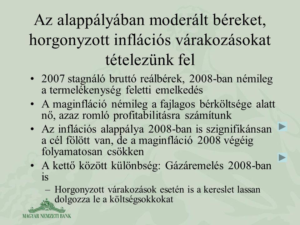 Az alappályában moderált béreket, horgonyzott inflációs várakozásokat tételezünk fel 2007 stagnáló bruttó reálbérek, 2008-ban némileg a termelékenység