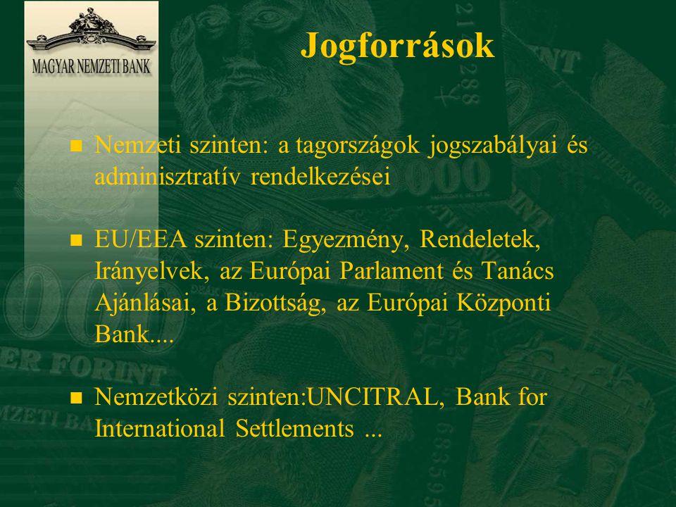 Jogforrások n Nemzeti szinten: a tagországok jogszabályai és adminisztratív rendelkezései n EU/EEA szinten: Egyezmény, Rendeletek, Irányelvek, az Európai Parlament és Tanács Ajánlásai, a Bizottság, az Európai Központi Bank....
