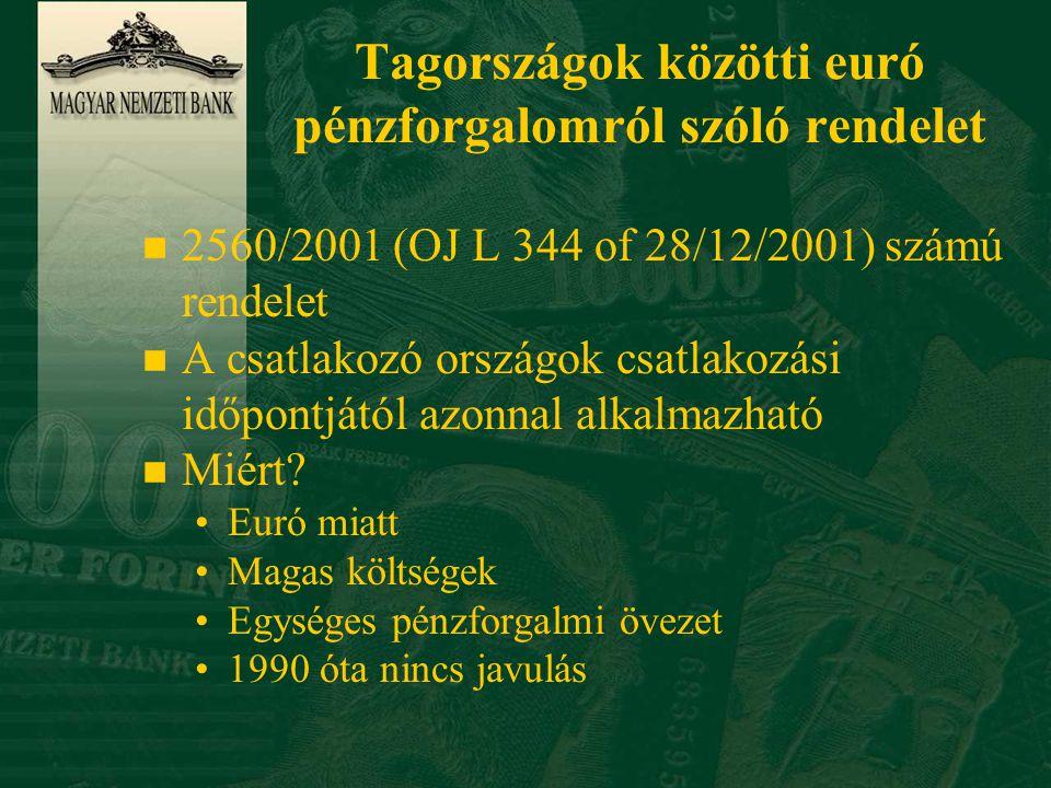 Tagországok közötti euró pénzforgalomról szóló rendelet n 2560/2001 (OJ L 344 of 28/12/2001) számú rendelet n A csatlakozó országok csatlakozási időpontjától azonnal alkalmazható n Miért.