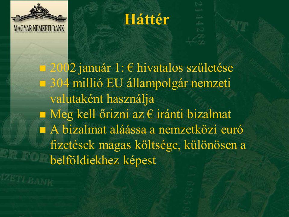 Háttér n 2002 január 1: € hivatalos születése n 304 millió EU állampolgár nemzeti valutaként használja n Meg kell őrizni az € iránti bizalmat n A bizalmat aláássa a nemzetközi euró fizetések magas költsége, különösen a belföldiekhez képest