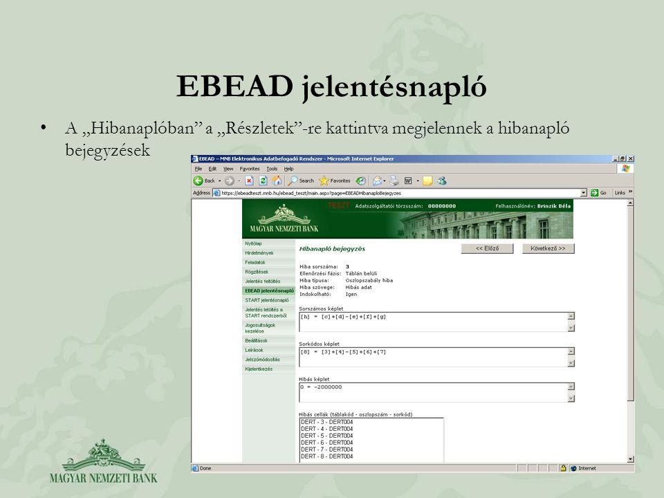 """EBEAD jelentésnapló A """"Hibanaplóban"""" a """"Részletek""""-re kattintva megjelennek a hibanapló bejegyzések"""