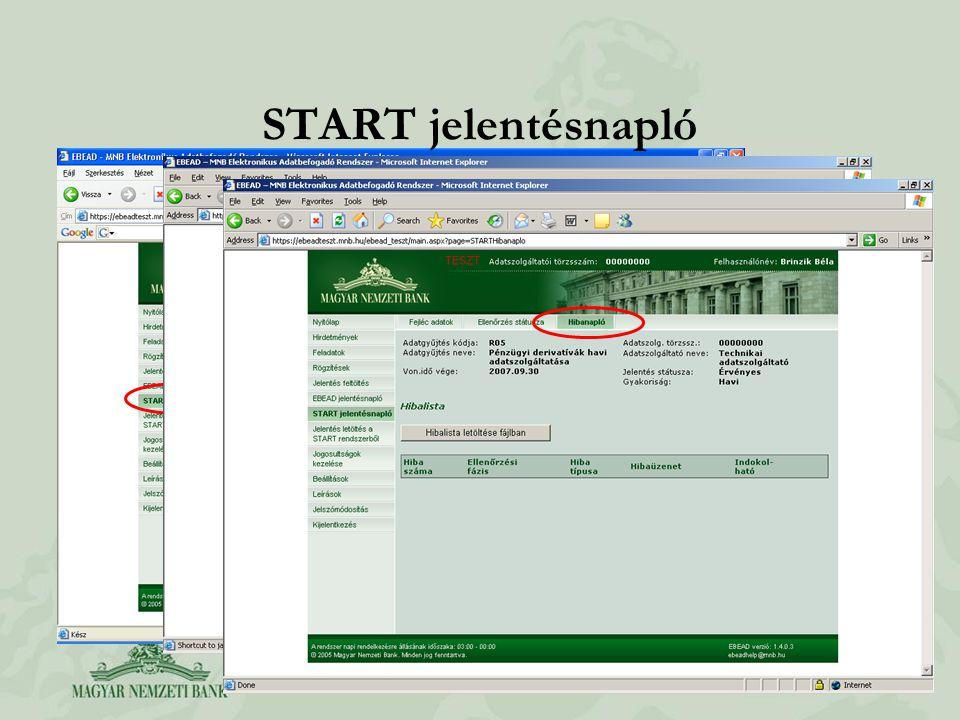 START jelentésnapló