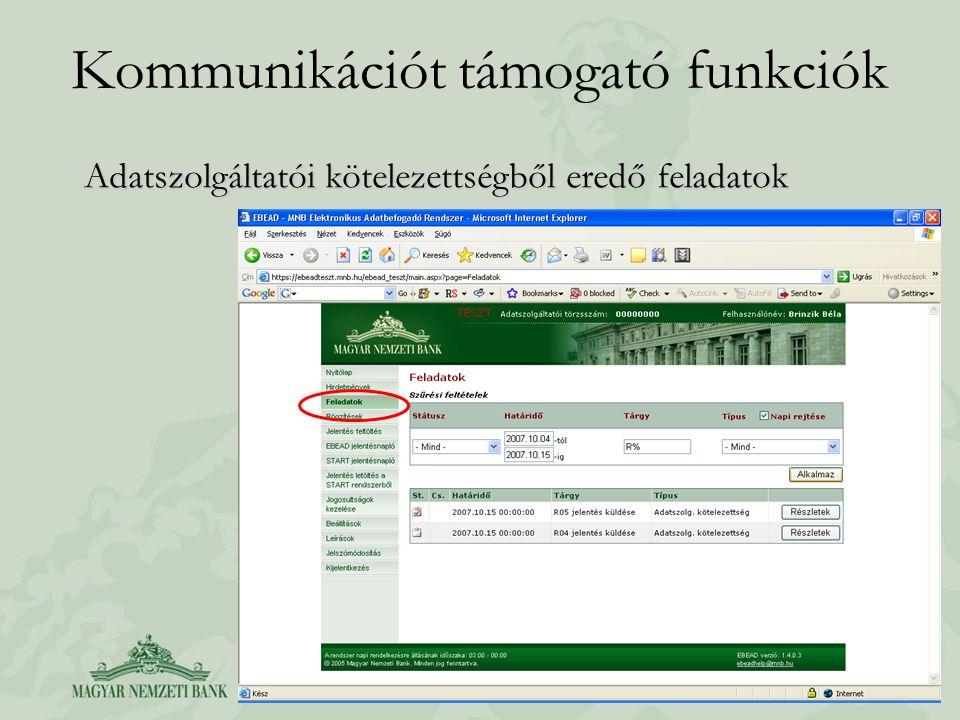 Kommunikációt támogató funkciók Adatszolgáltatói kötelezettségből eredő feladatok