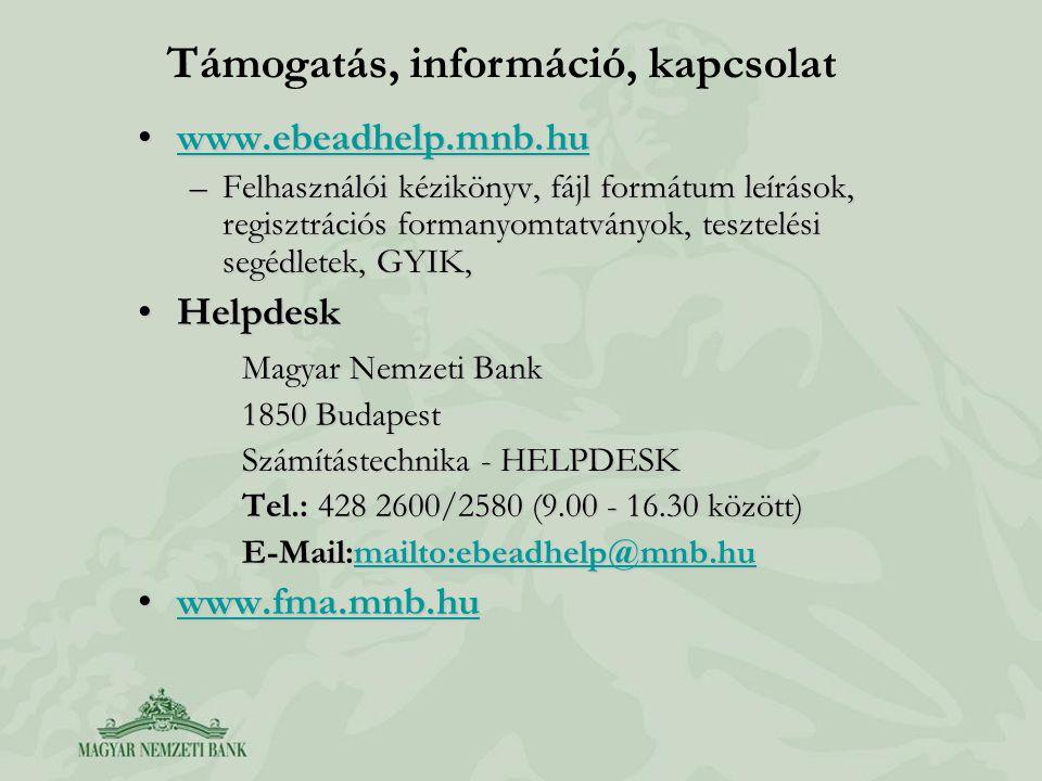 Támogatás, információ, kapcsolat www.ebeadhelp.mnb.huwww.ebeadhelp.mnb.huwww.ebeadhelp.mnb.hu –Felhasználói kézikönyv, fájl formátum leírások, regiszt