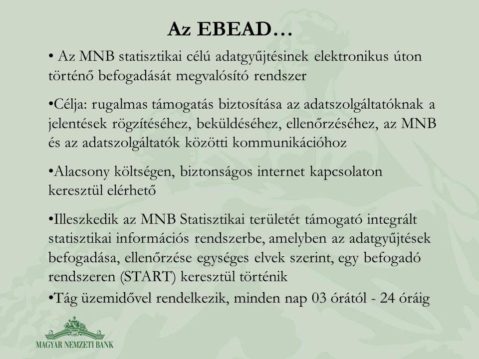 Az EBEAD… Az MNB statisztikai célú adatgyűjtésinek elektronikus úton történő befogadását megvalósító rendszer Célja: rugalmas támogatás biztosítása az