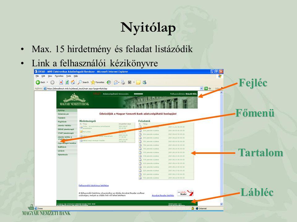 Nyitólap Max. 15 hirdetmény és feladat listázódik Link a felhasználói kézikönyvre Fejléc Fejléc Tartalom Főmenü Lábléc