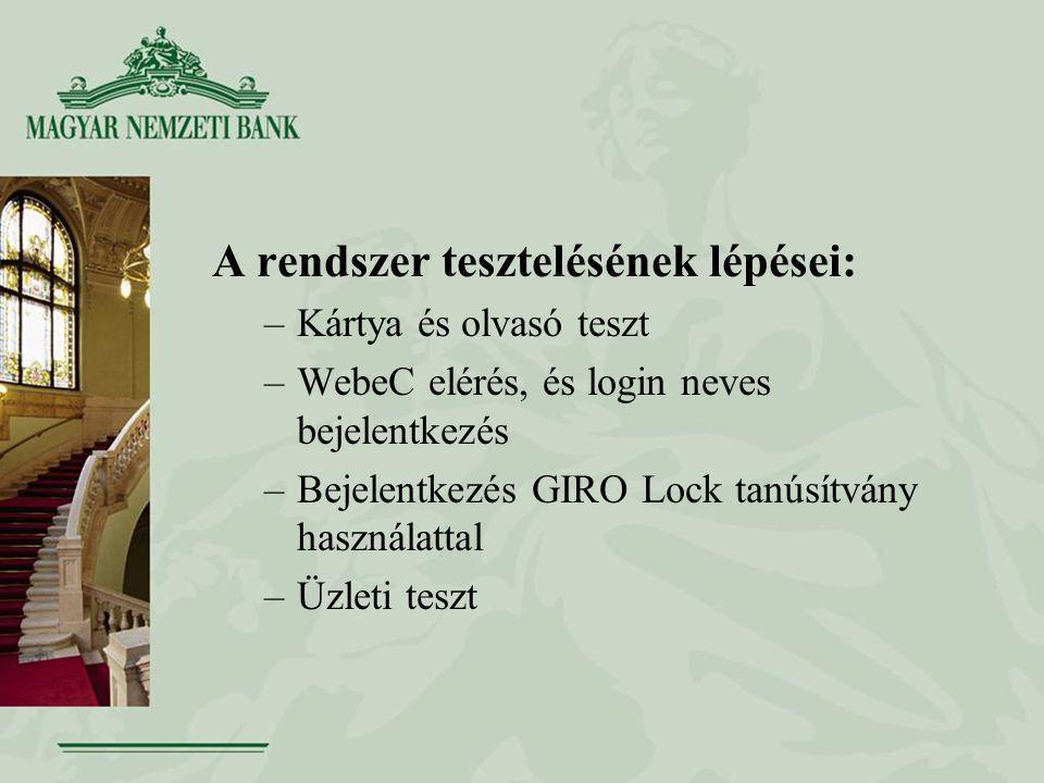 A rendszer tesztelésének lépései: –Kártya és olvasó teszt –WebeC elérés, és login neves bejelentkezés –Bejelentkezés GIRO Lock tanúsítvány használattal –Üzleti teszt