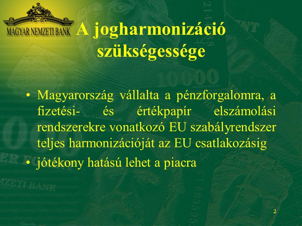 2 A jogharmonizáció szükségessége Magyarország vállalta a pénzforgalomra, a fizetési- és értékpapír elszámolási rendszerekre vonatkozó EU szabályrends