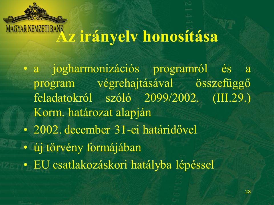 28 Az irányelv honosítása a jogharmonizációs programról és a program végrehajtásával összefüggő feladatokról szóló 2099/2002. (III.29.) Korm. határoza