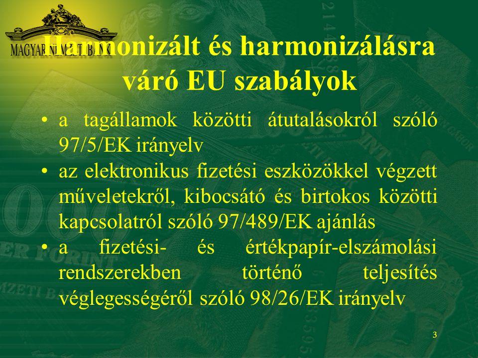 3 Harmonizált és harmonizálásra váró EU szabályok a tagállamok közötti átutalásokról szóló 97/5/EK irányelv az elektronikus fizetési eszközökkel végze