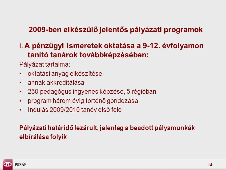14 2009-ben elkészülő jelentős pályázati programok I.