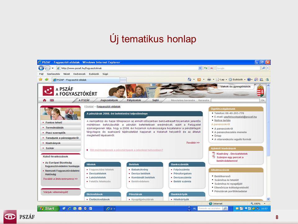 8 Új tematikus honlap