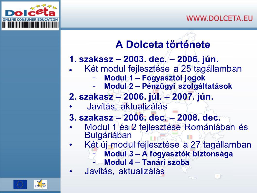 A Dolceta története 1. szakasz – 2003. dec. – 2006.