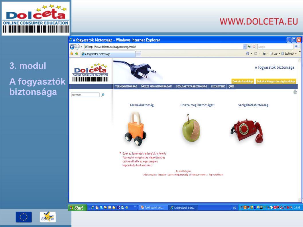 3. modul A fogyasztók biztonsága
